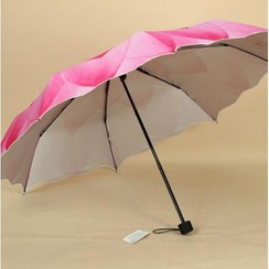 Easily - Scallop Trim Floral Print 3-Fold Umbrella