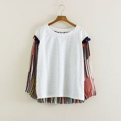Mushi - Bobble Detail Stripe Panel Long-Sleeve T-Shirt