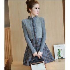 Eighoo - Lace Trim Long Sleeve Knit Dress
