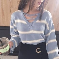 monroll - Cross Strap Front Striped Sweater