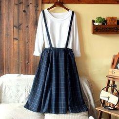 tete - 格纹背带短裙