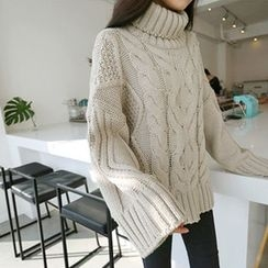Hello sweety - Turtle-Neck Cable-Knit Sweater