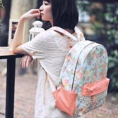 SUPER LOVER - Floral Panel Canvas Backpack