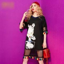 ELF SACK - Elbow-Sleeve Tasseled Paneled Printed Dress