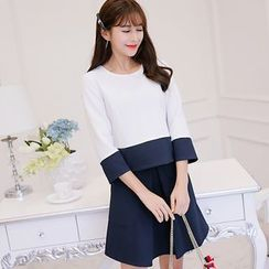 Bornite - Set: 3/4-Sleeve Color Block Top + A-Line Skirt