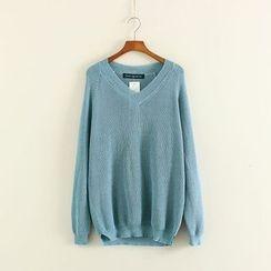 Mushi - Plain V-Neck Sweater