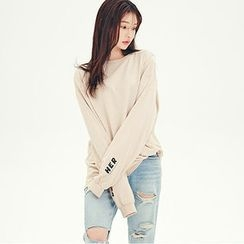 chuu - Drop-Shoulder Lettering Detail Pullover