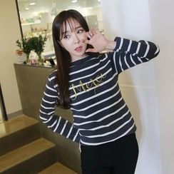 Envy Look - Lettering Striped T-Shirt