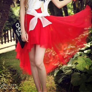 Dabuwawa - Mesh Dip-Back A-Line Skirt