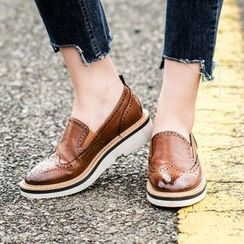 MIAOLV - Faux-Leather Wing-Tip Platform Loafers
