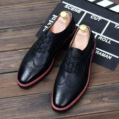 Hipsteria - Croc Grain Pointy Oxfords