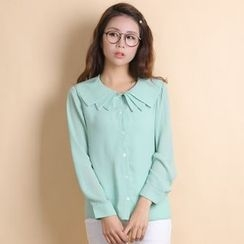 11.STREET - Long-Sleeve Collared Chiffon Blouse