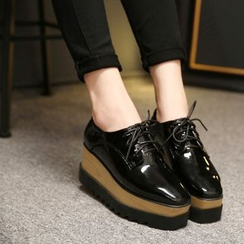 JY Shoes - Genuine Leather Platform Patent Oxfords