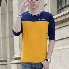 Rocksoul - Long-Sleeve Color Block T-Shirt