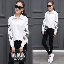 Sienne - Butterfly Embroidered Shirt