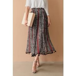 PPGIRL - Tassel-Detail Pattern Pants