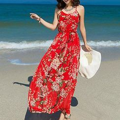 Fashion Street - Floral Print Strappy Chiffon Sundress