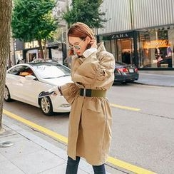 Seoul Fashion - Shirred 3/4-Sleeve Trench Coat