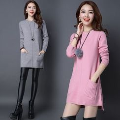 Pecora - Plain Long Sweater Dress