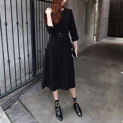 NIPONJJUYA - Cuff-Sleeve Belted Long Dress