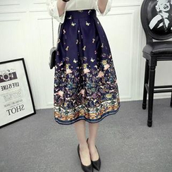 Hazie - Floral Print Midi Skirt
