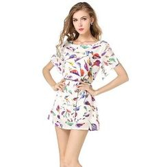 LIVA GIRL - Bird Printed Short-Sleeve Chiffon Dress