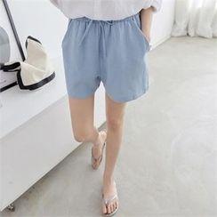 PEPER - Band-Waist Flat-Front Shorts