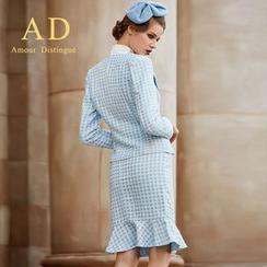 艾尚臣 - 套裝: 千鳥格夾克 + 荷葉裙