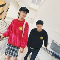 Simpair - Couple Matching Smiley Face Embroidered Pullover