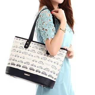 Axixi - Faux-Leather Car Print Panel Tote
