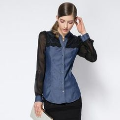 O.SA - Tulle-Sleeve Denim Panel Shirt