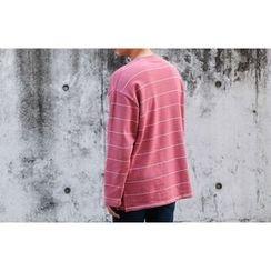 SCOU - Slit-Hem Striped T-Shirt