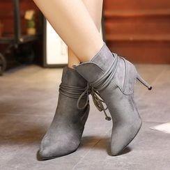 Monde - Strap High-Heel Velvet Short Boots