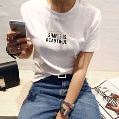 NANING9 - Crew-Neck Lettering Print T-Shirt