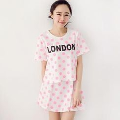 Tokyo Fashion - Set: Short-Sleeve Polka-Dot Lettering T-Shirt + A-Line Skirt