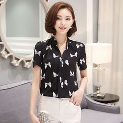 Supernova - Bow Print Short-Sleeve Chiffon Blouse