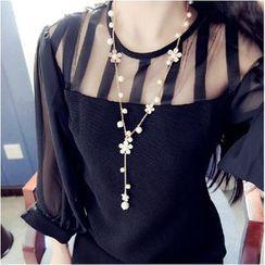 Best Jewellery - Flower Faux-Pearl Long Necklace