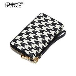 Emini House - Genuine Leather Houndstooth Woven Long Wallet