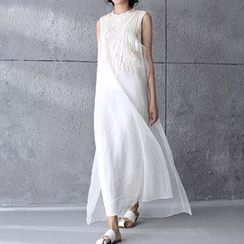 Diosa - Embroidered Sleeveless Chiffon Dress