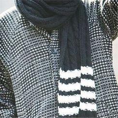 TOMONARI - Stripe Cable-Knit Scarf