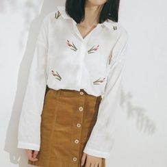 SUYISODA - Embroidered Loose Fit Shirt
