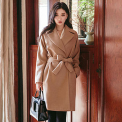 chuu - Notched-Collar Wrap Coat with Sash