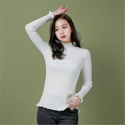 Styleberry - Frill-Neck Rib-Knit Top