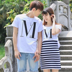 Igsoo - Couple Matching Letter Short-Sleeve T-shirt / T-shirt + Stripe Tank Dress