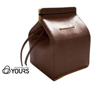 YOURS - Customizable Genuine Leather 'Milk Carton' Money Box