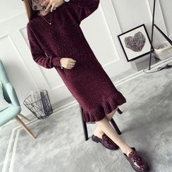 Qimi - Ruffle Hem Midi Sweater Dress
