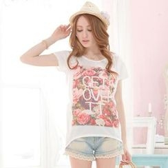 Tokyo Fashion - Short-Sleeved Rose Print T-Shirt