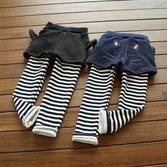 貝殼童裝 - 小童連刺繡短褲條紋內搭褲