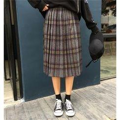 Cattie - Plaid Pleated Midi Skirt