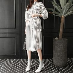 Fashion Street - Pinstriped Long-Sleeve Shirtdress